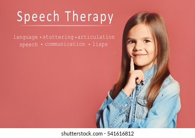 Little girl and text SPEECH THERAPY on color background