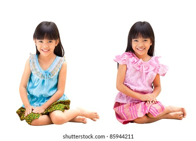 Little Girl in Thai Style Traditional Suit, Thailand