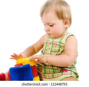 little girl with a toy car on white background