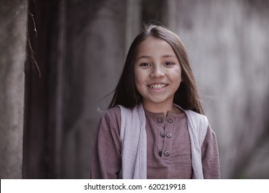 little girl in traditional clothes