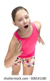 Little girl training hard for running