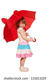 A little girl with an umbrella. Isolated on white background