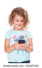 Little girl using smart phone. All on white background.