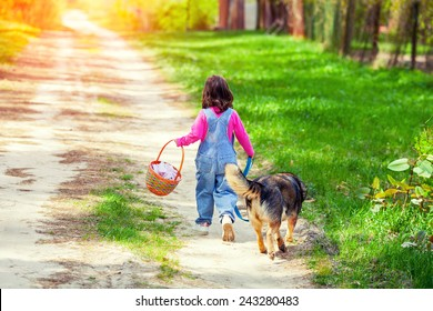 Little girl walking with dog on the road back to camera and keeping the dog on leash