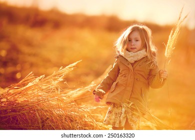 little girl walking in the field at sunset