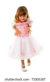 Little girl walking on tiptoe for dont make noise