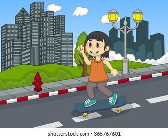 Little girl walking at the street hand cartoon