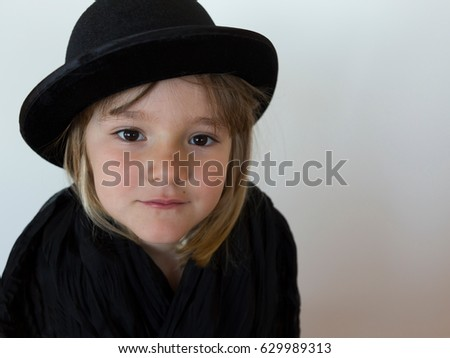 b2b7460c060 Little Girl Wearing Black Bowler Hat Stock Photo (Edit Now ...