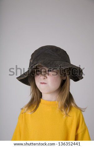 de574b771a1 Little Girl Wearing Floppy Hat Stock Photo (Edit Now) 136352441 ...
