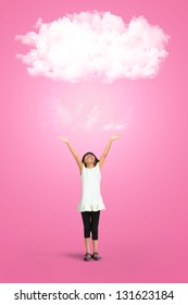 Little girl with white cloud, Creative concept