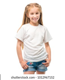 Little girl in white T-shirt for design template on white background. Blank copy space on casual T shirt.