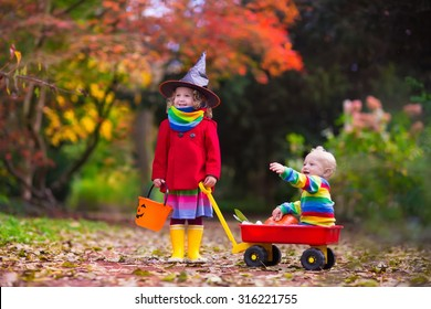 Little girl in witch costume and baby boy in wheel barrow holding a pumpkin playing in autumn park. Kids at Halloween trick or treat. Toddler with jack-o-lantern. Children with candy bucket in forest.