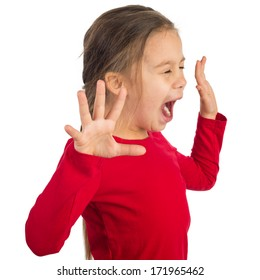 Little girl is yelling hysterically