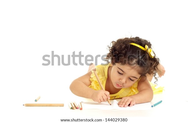 little girl in a yellow dress painting illustration on white background