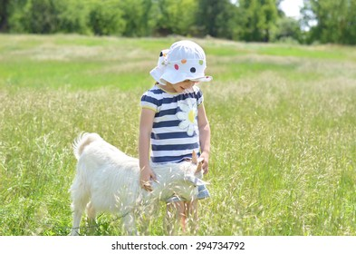 Little girl and young white goat in summer