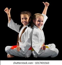 Little girls martial arts fighters isolated