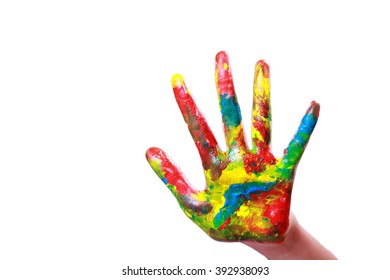 Little girls painted palm with colorful paints isolated on white