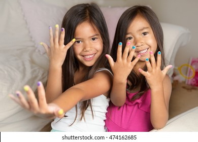 Little Girls Painting Their Nails