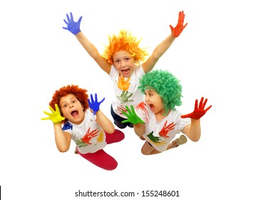 Little girls playing with colors
