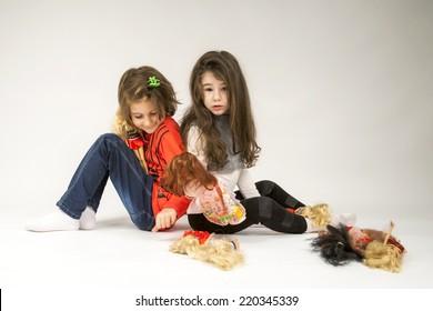 little girls playing dolls light grey stock photo edit now rh shutterstock com