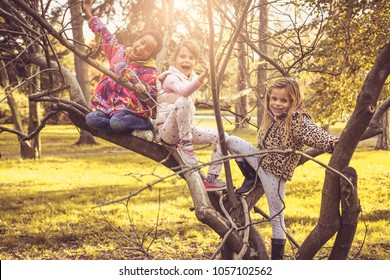 Little girls playing on tree.