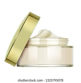 little glass vase of beauty cream isolated on white