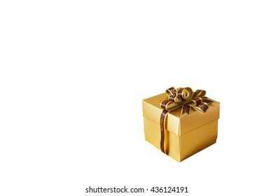 little golden gift box with bow