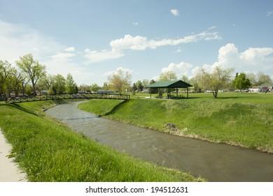 Little Goose Creek flows through Washington Park in Sheridan, Wyoming.
