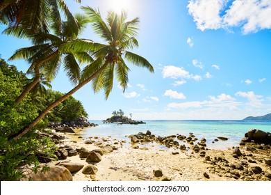 Little granite Mouse island (Ile Souris), Anse Royal beach, island of Mahe, Seychelles, Indian Ocean