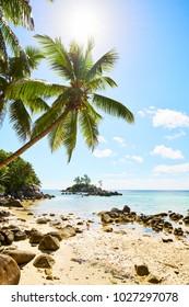 Little granite Mouse island (Ile Souris), Anse Royal beach, beautiful beach seychelle, Mahe