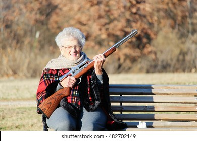 Little Granny with Shotgun