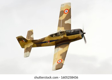 LITTLE GRANSDEN, CAMBRIDGESHIRE, UK - AUGUST 24, 2014: North American T-28A Fennec 51-7545 N14113 carries out a display at Little Gransden airfield.