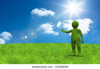 Little green character presenting something with the sky and grass in background