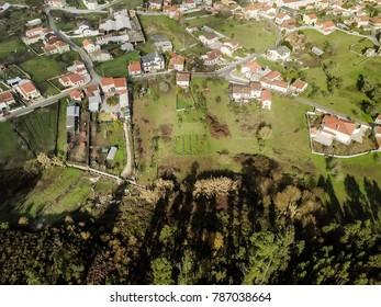 Little green village seen from above