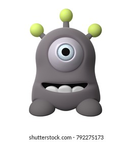 Little grey monster 3D rendering