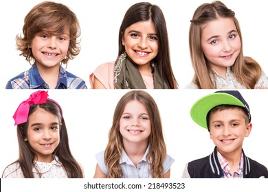 Little group of beautiful kids portraits - Collage