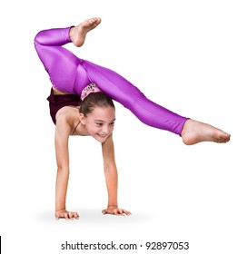 little gymnast on a white background.sporting exercise.stretch.flexibility.aerobics