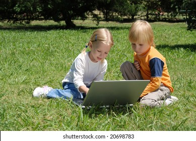 Little hackers on a glade in park