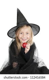 little halloween witch with apple