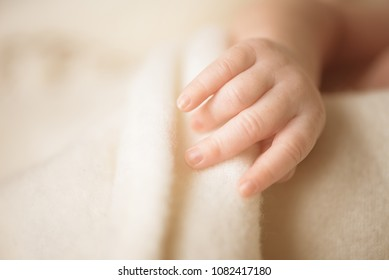 Little hand of newborn baby. Mom and her child. Maternity, family, care and birth concept. Copy space for your text.