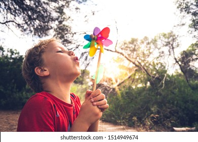 Little handsome boy blows a pinwheel in a forest, carefree, with faded tones and retro style.