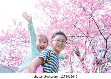 Little happy asian girl with her brother playing in front of blooming pink flower cherry tree.
