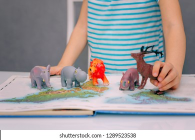 Little happy baby girl is getting to know the wild world of animals through the game by exploring their habitat on the world map. Home family education of children. Selective focus.