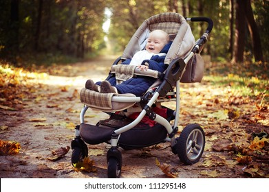 little happy boy with baby carriage in autumn park