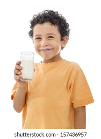 Little Happy Boy with Glass of Milk Isolated on White Background