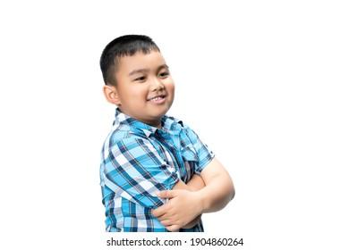 Little happy boy laugh looking at camera portrait