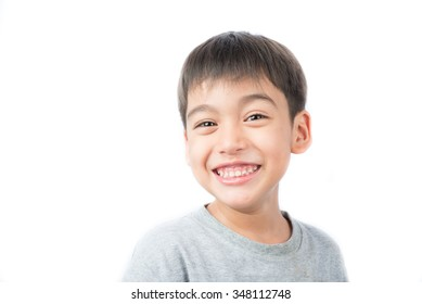 Little happy boy laugh looking at camera portrait