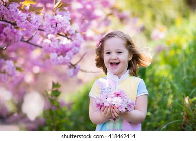 Little happy girl playing under blooming cherry tree with pink flowers. Child holding sakura blossom. Summer fun for family with kids outdoors in a beautiful spring garden. Kid with flower on Easter.