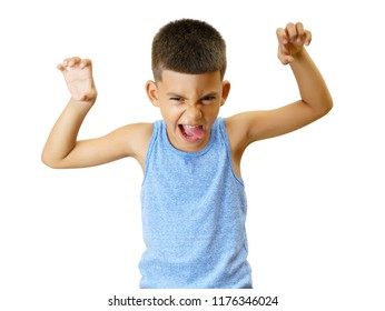 Little hispanic kid mimic a monster isolated on white.