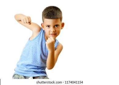 Little hispanic kid practice boxing isolated on white